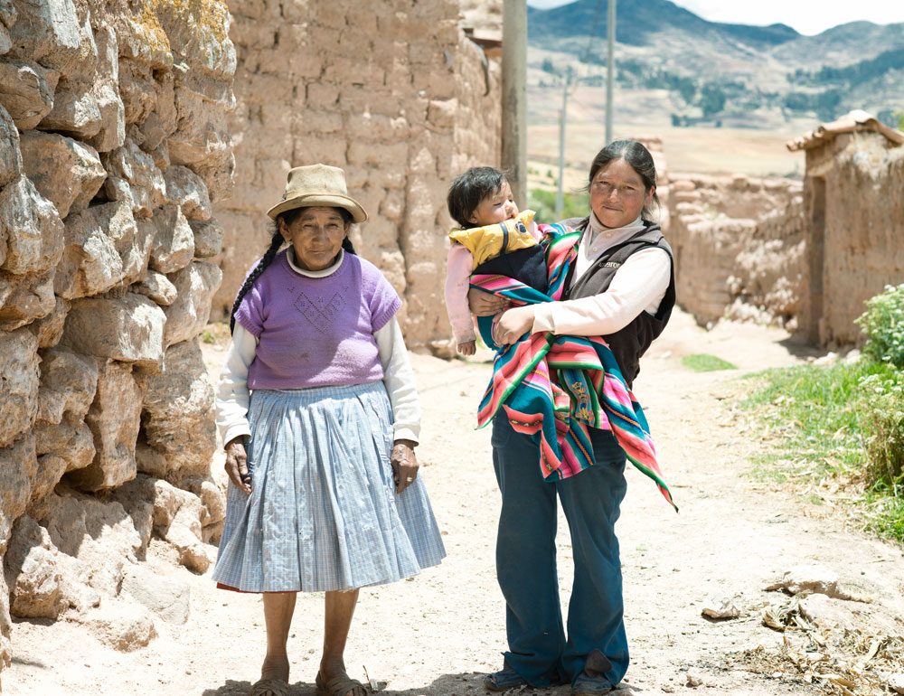 Three generations of native Peruvian women