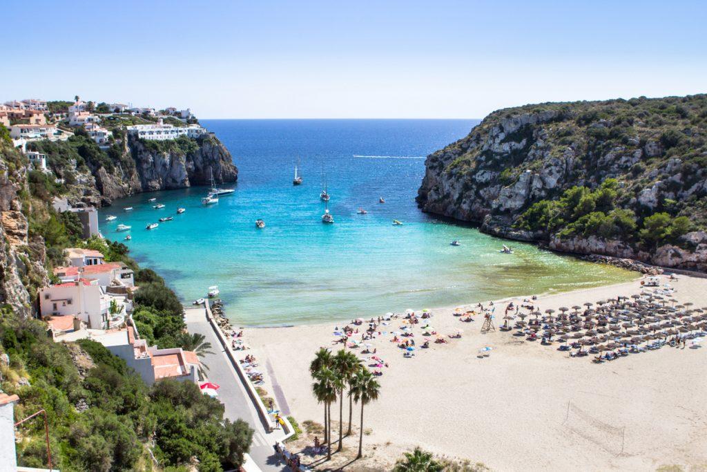 Cala en Porter beach on Menorca at Balearics islands, Spain