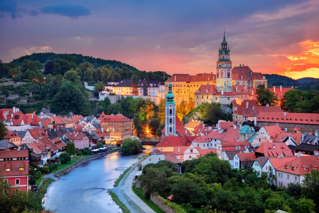 Cesky Krumlov, Czech Republic during summer sunset.