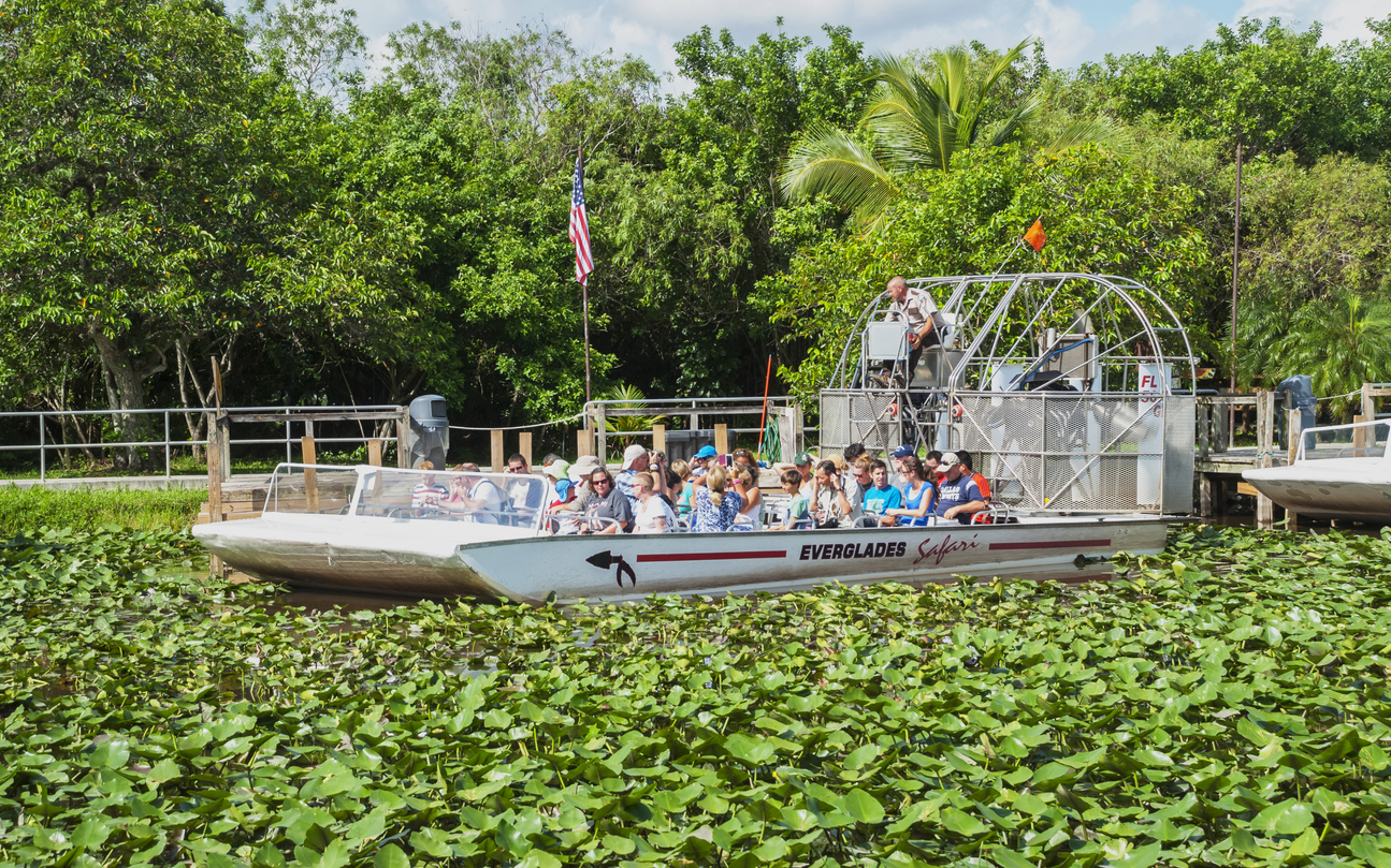 Airboat full of tourists leaves for the tour in the Everlades National Park in Florida, USA
