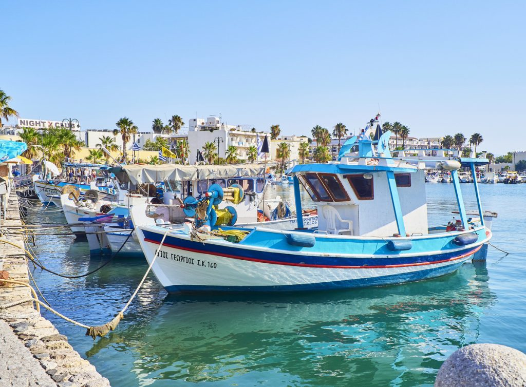 Greek fishing boats moored in Kos fishing port