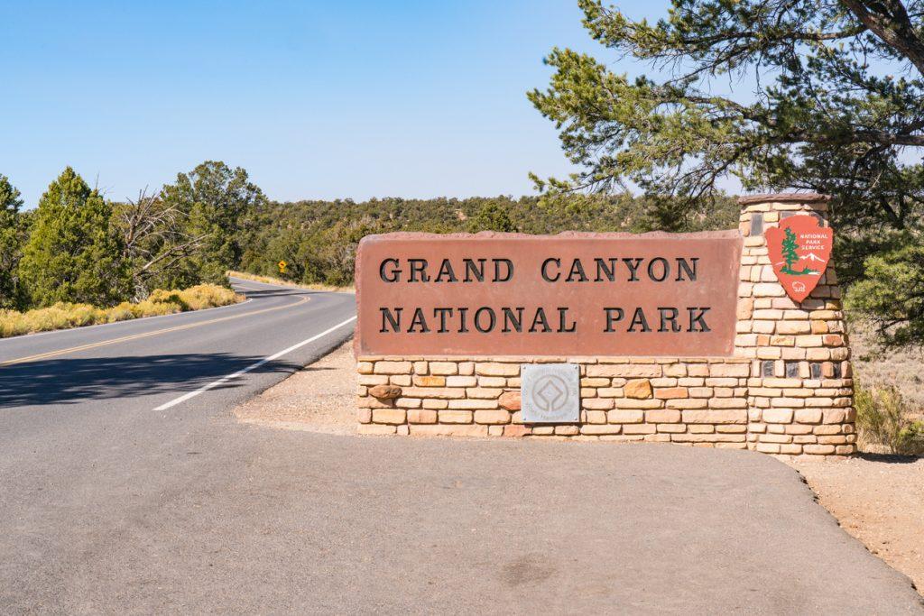 Entrance sign to Grand Canyon National Park, Arizona