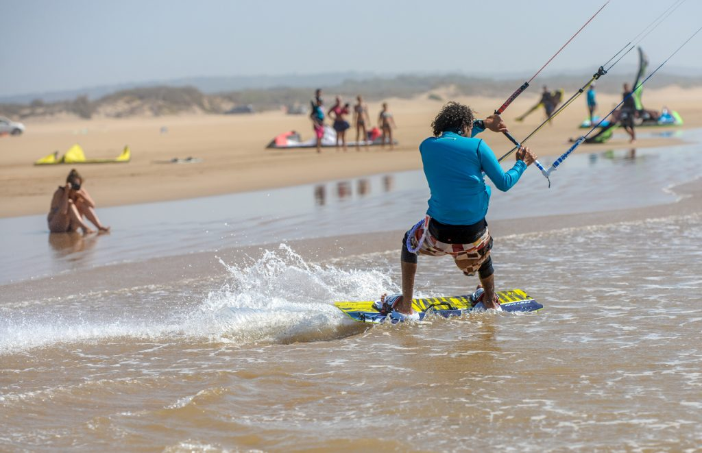 Kite Surfing ride at the beach at Essaouira, Morocco.