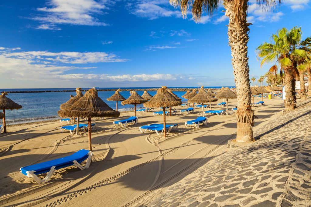 Los Cristianos Beach on the island of Tenerife