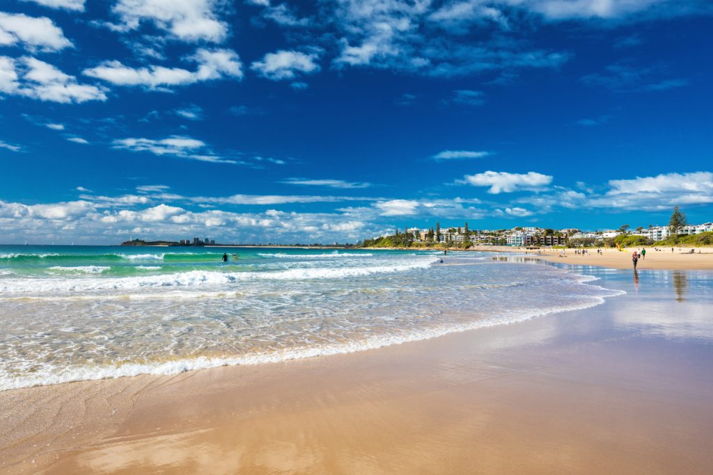 Mooloolaba beach - a famous tourist destination in Queensland, Australia.