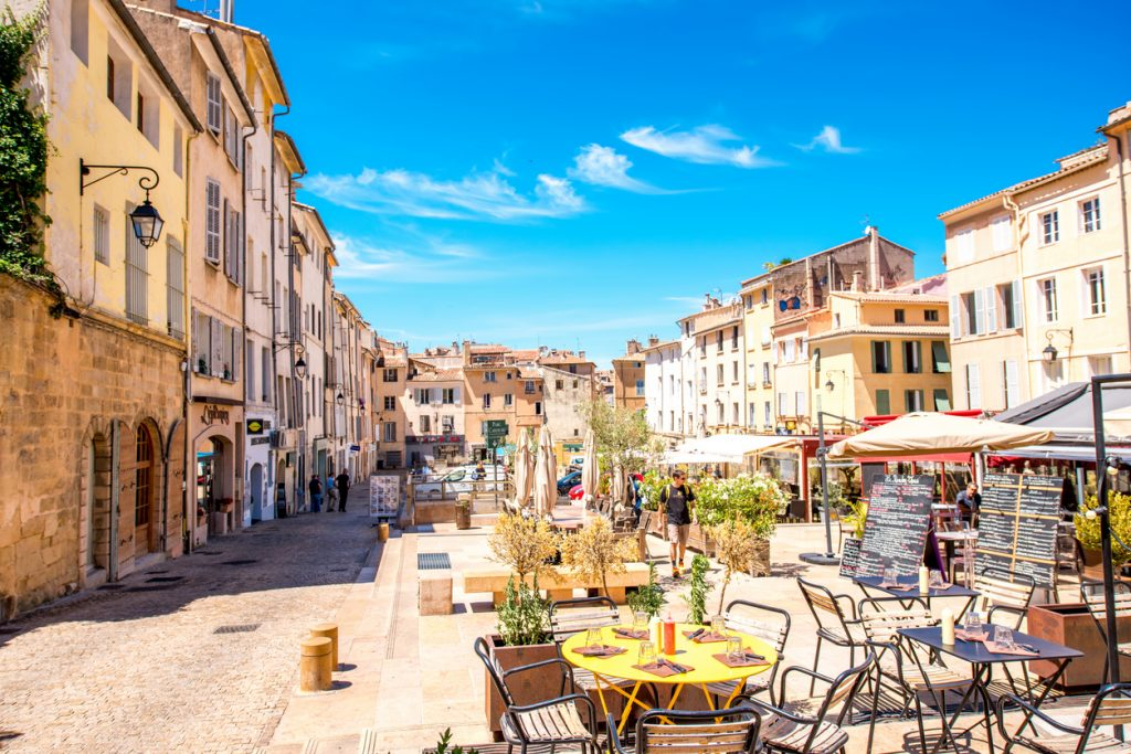 Cardeurs square with cafes and restaurants in the old town of Aix-en-Provence city on the south of France.