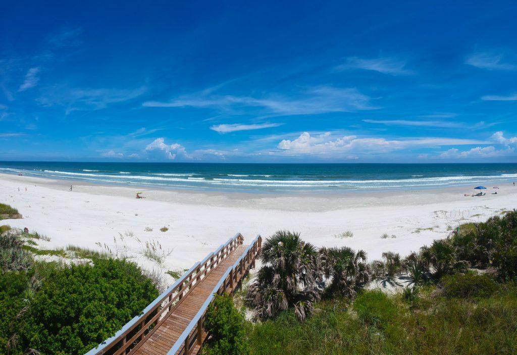 Panoramic aerial view of the beach at Daytona Beach, Florida, USA