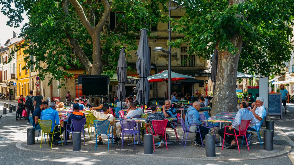 Cafe and restaurants in the ancient city of Arles in Provence in the south of France
