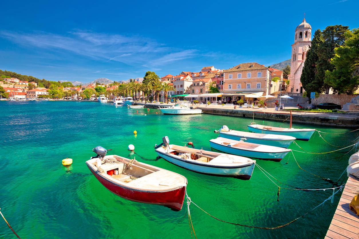 Facing the turquoise sea of Cavtat view, southern Dalmatia resort, Croatia