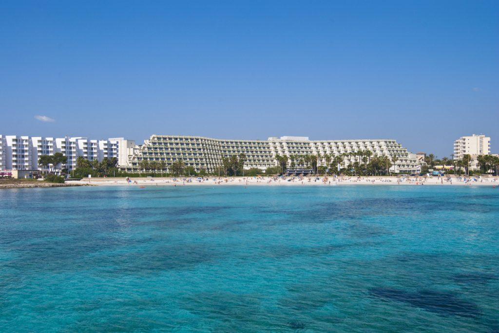 Sa Coma hotels and Mediterranean Sea on Majorca island, Spain