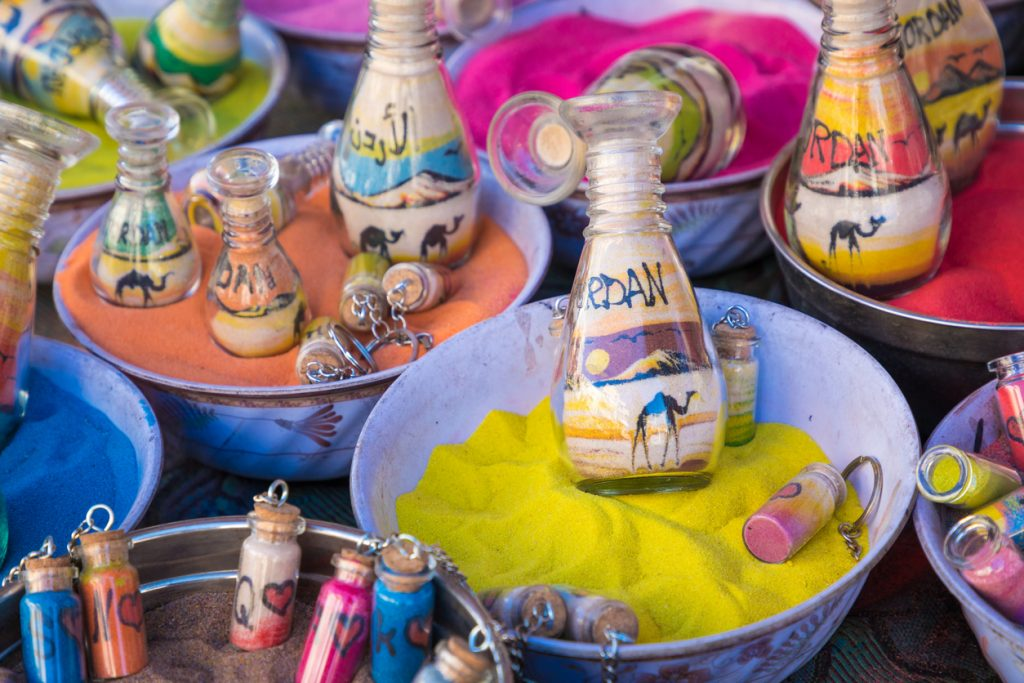 Souvenirs from Jordan - bottles with sand and shapes of desert and camels