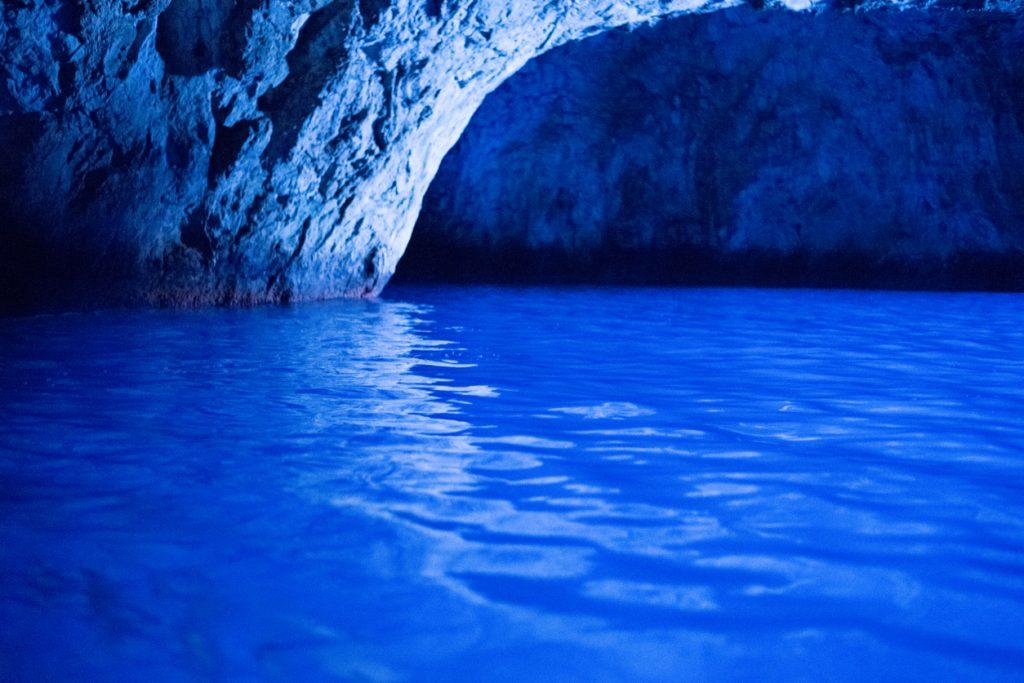Inside the unique Blue Grotto cave at Capri Italy