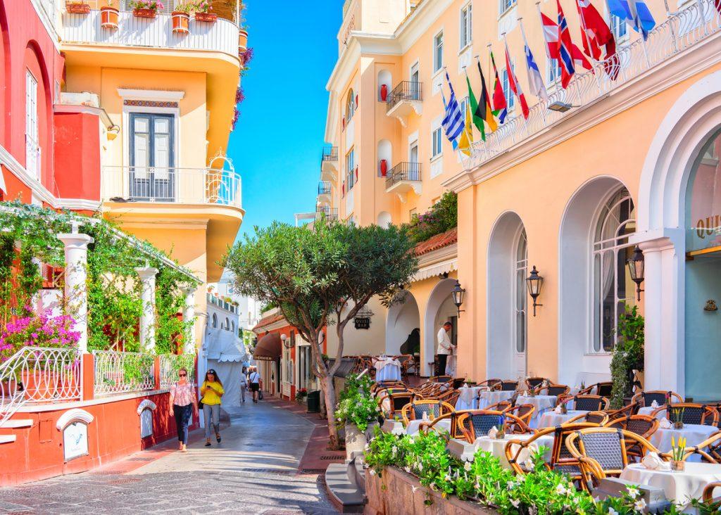 Tourists at Street cafes on Capri Island, ItalyTourists at Street cafes on Capri Island, Italy