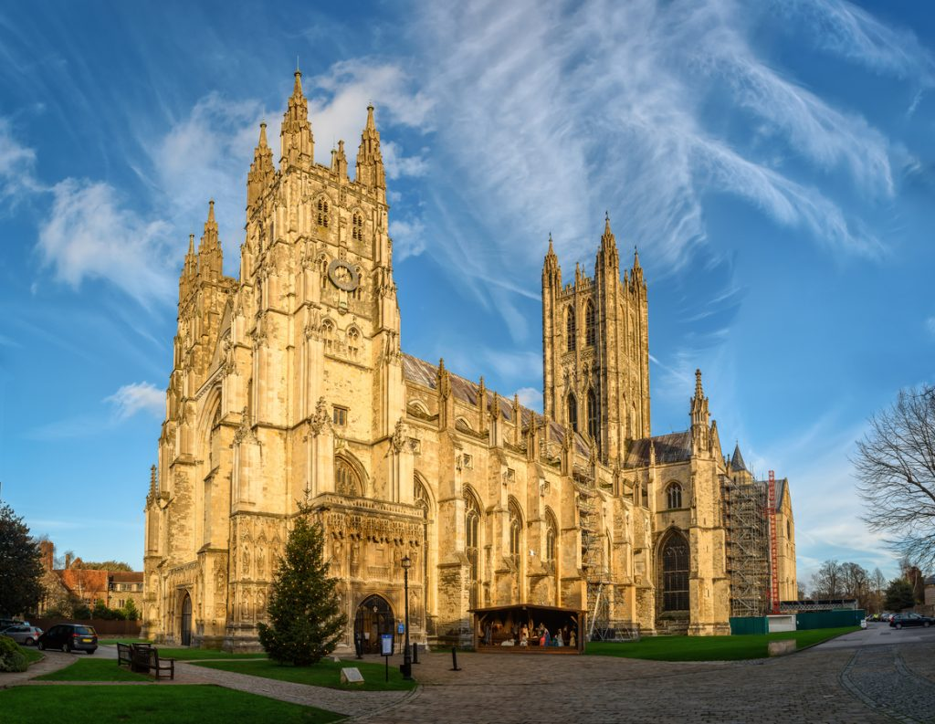 Canterbury Cathedral in the sunset during Winter