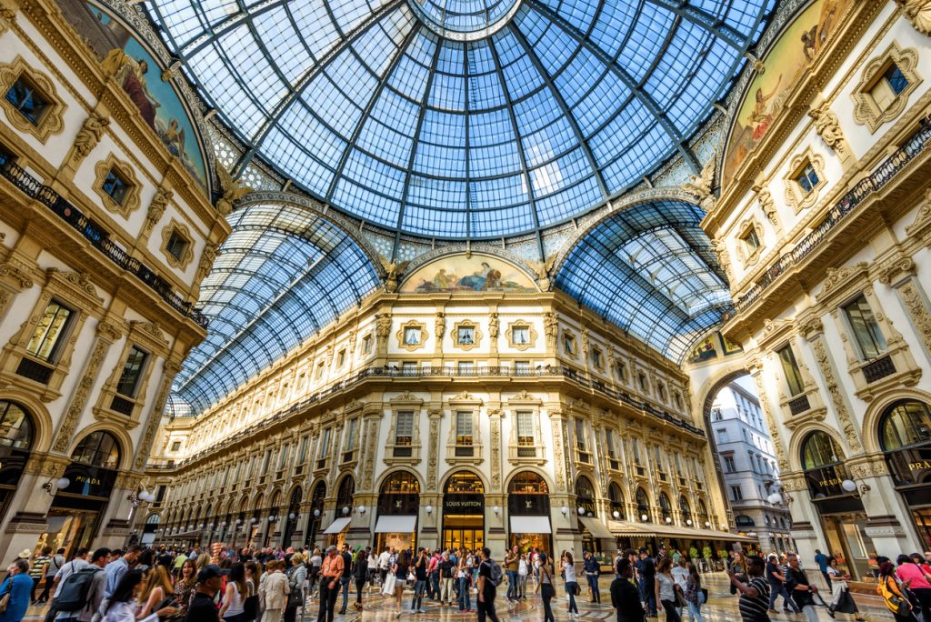 The Galleria Vittorio Emanuele II on the Piazza del Duomo in central Milan. This gallery is one of the world's oldest shopping malls.