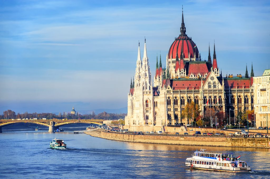 The Parliament building on Danube river, Budapest