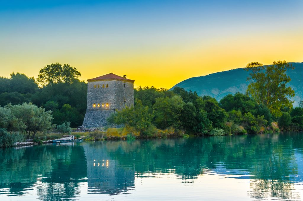 The Venetian Tower of Butrint, Archaeological Site and National park at sunrise, Albania. This Archeological site is World Heritage Site by UNESCO.