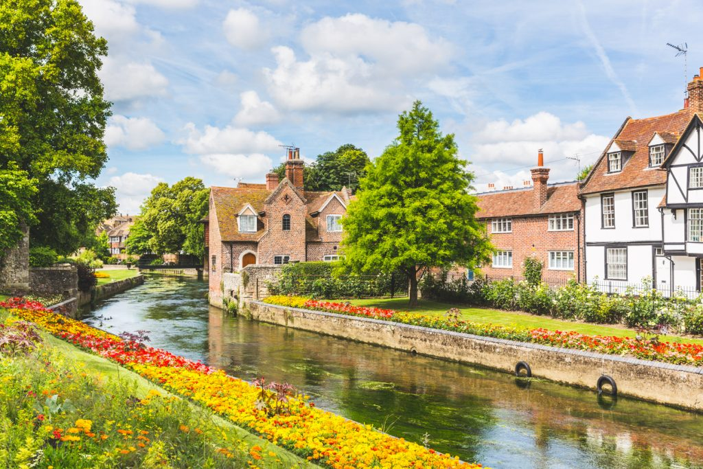 View of the River Stour and typical houses and buildings in Canterbury