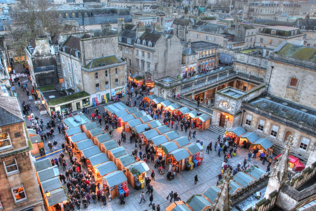 Taken from Bath Abbey, this image features the Bath Christmas Market and the Roman Baths late on a December afternoon.