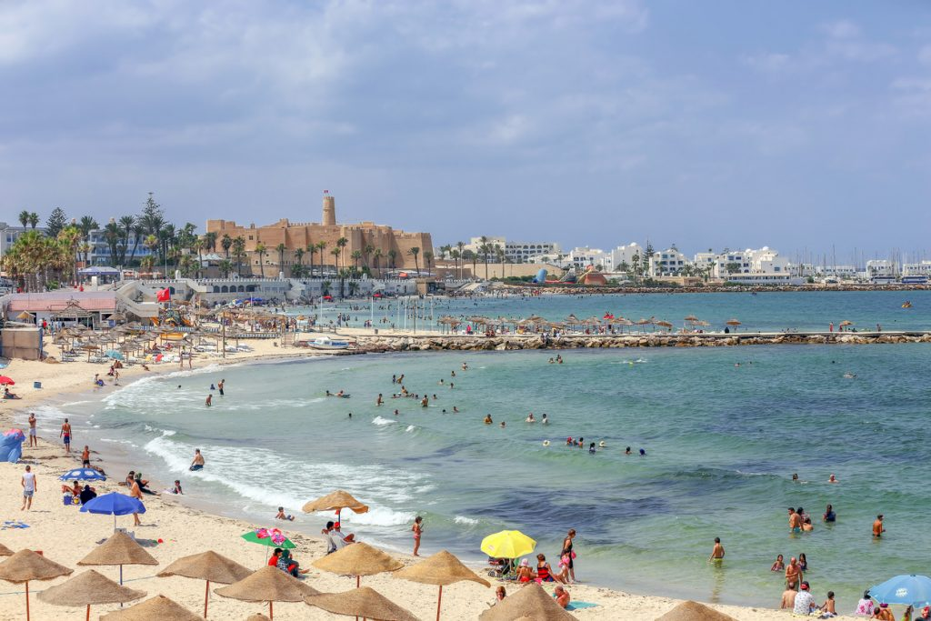 Monastir in Tunisia is an ancient city and popular beach tourist destination on the Mediterranean Sea.