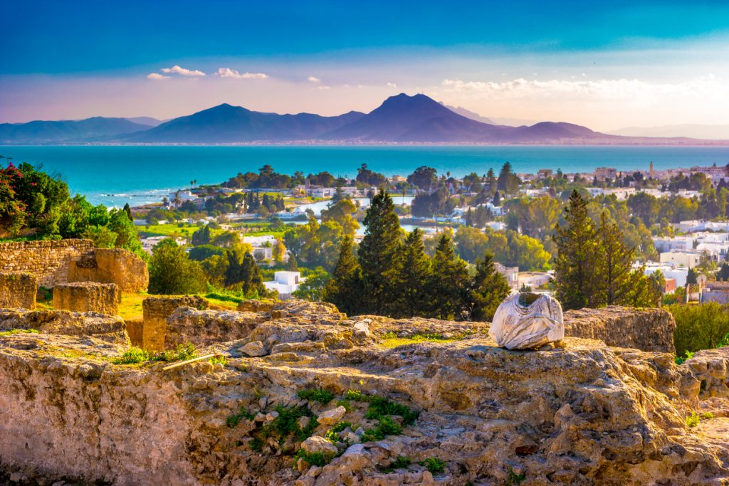 View from hill Byrsa with ancient remains of Carthage and landscape. Tunisia.