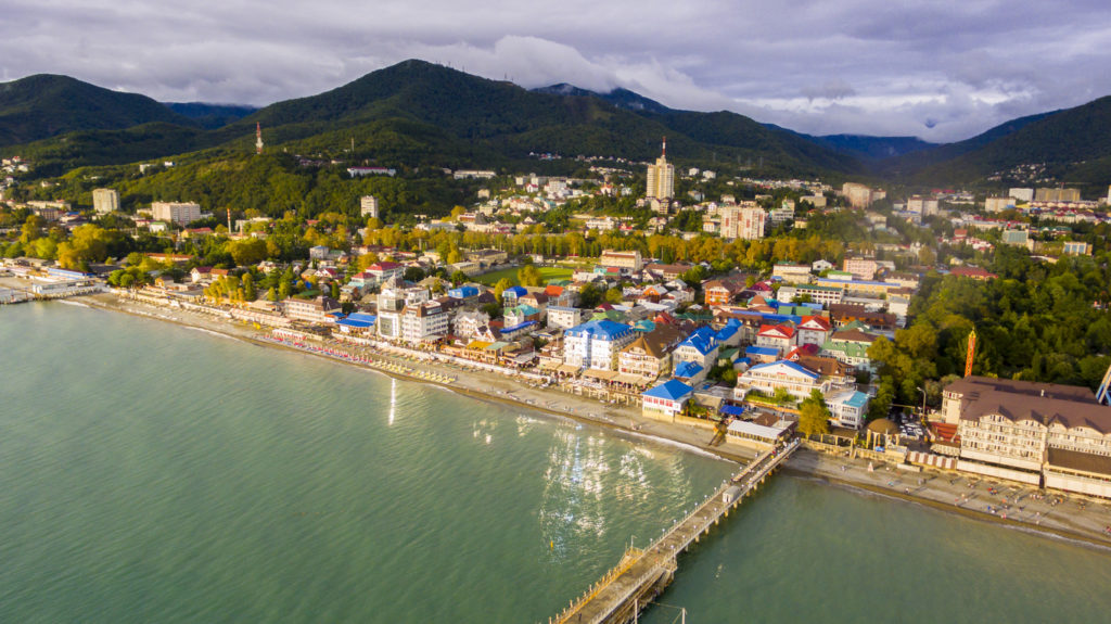 Aerial view on Sochi seashore resort area