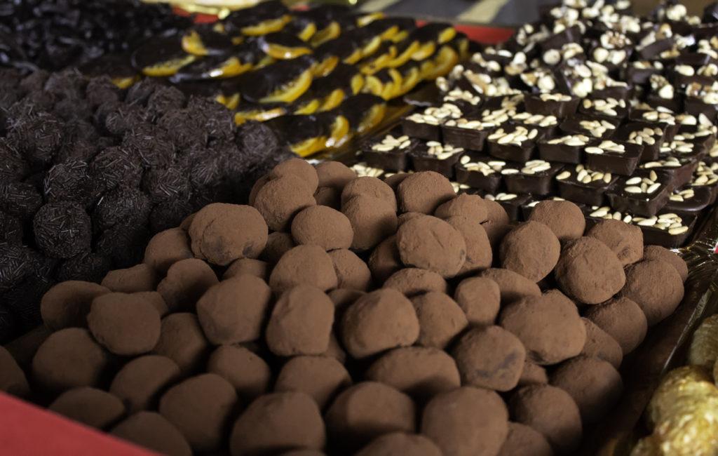 Chocolate pralines in Brussels shop