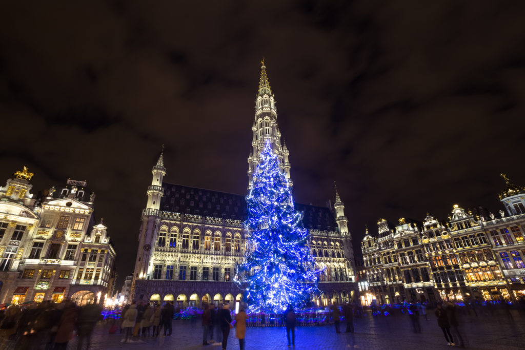 Grote market place on a Christmas evening in Brussels, Belgium