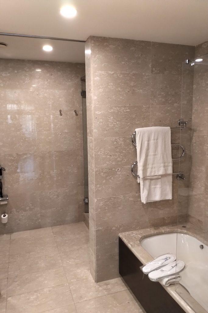 Bathroom in the Premier Room in Hotel Eurostars Grand Marina in Barcelona