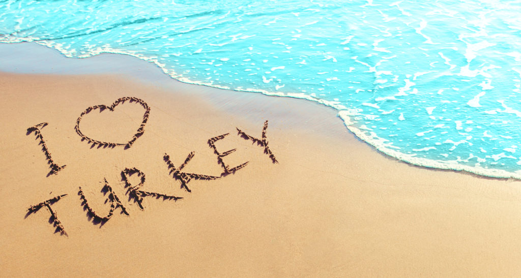 I love Turkey Written on the Sand