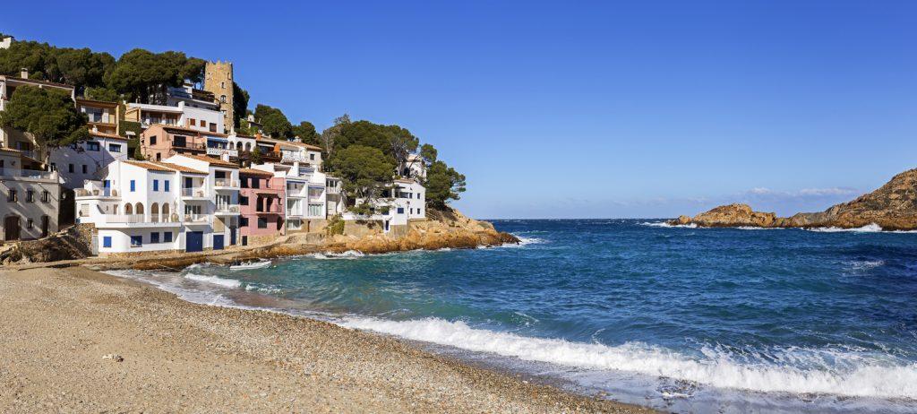 Panoramic view of Sa Tuna, a fishermen village in Costa Brava, Catalonia