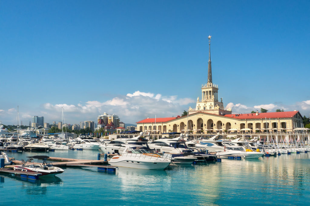 Sochi, Russia. Yachts and pleasure boats on the Black Sea.