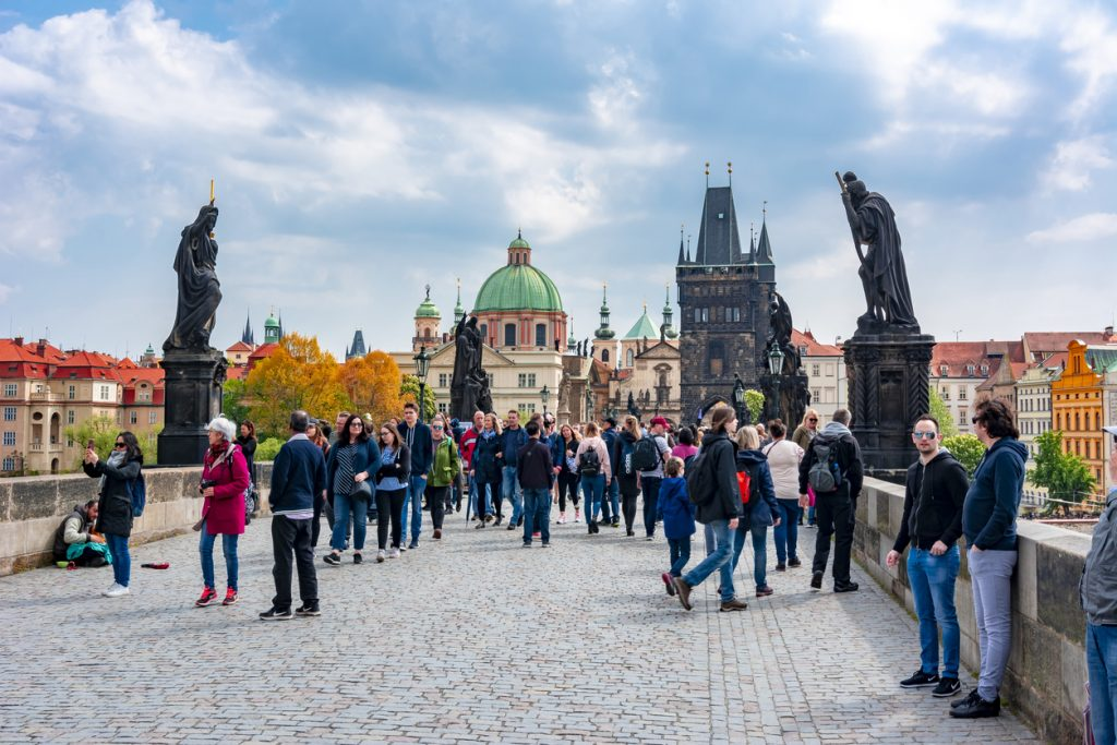 Tourists walking on Charles bridge