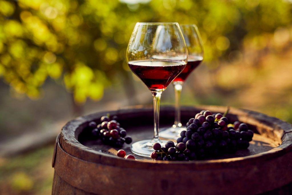 Two glasses of red wine on a wooden barrel in the vineyard