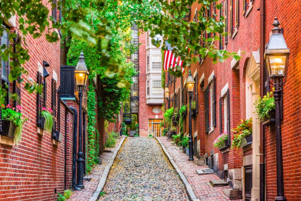 Acorn Street in Boston, Massachusetts, US