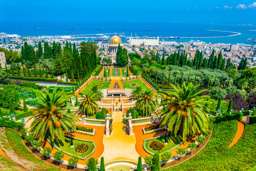 Aerial view of Bahai gardens in Haifa, Israel
