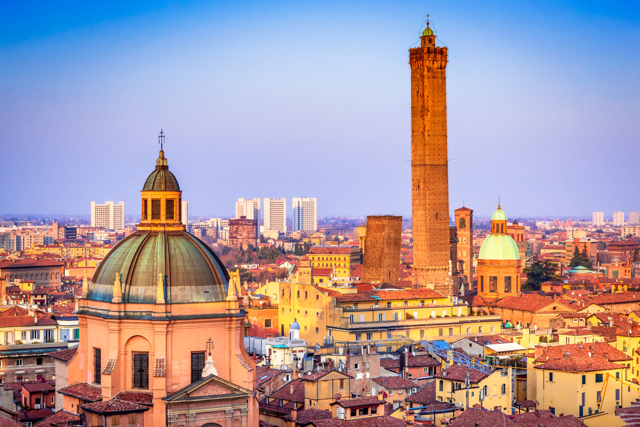 Bologna - Skyline of medieval Two Towers (Due Torri), Asinelli and Garisenda.