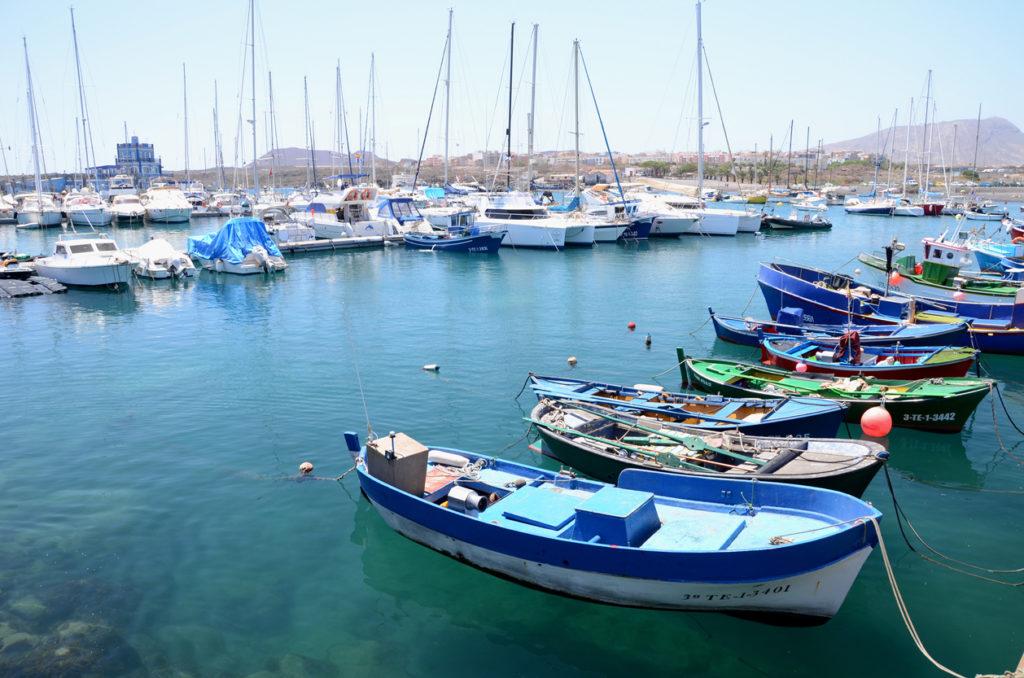 Fishing boats in harbor in Las Galletas in Tenerife