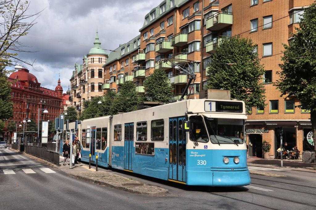 Blue tram in Gothenburg, Sweden. Gothenburg has the largest tram network in Sweden with 160 km of singletrack.