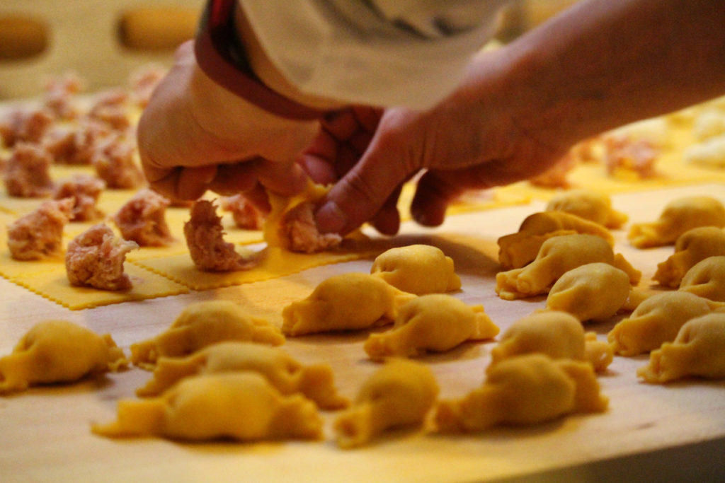 Fresh and hand made tortellini in Bologna