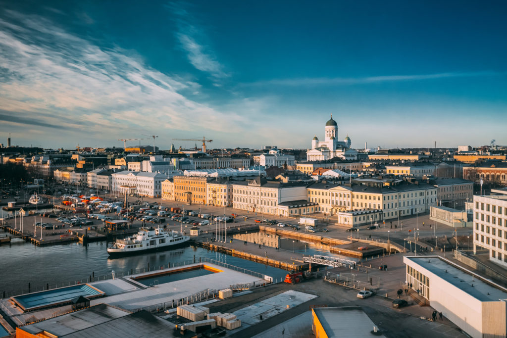 Helsinki, Finland. Top View Of Market Square, Street With Presidential Palace And Helsinki Cathedral.