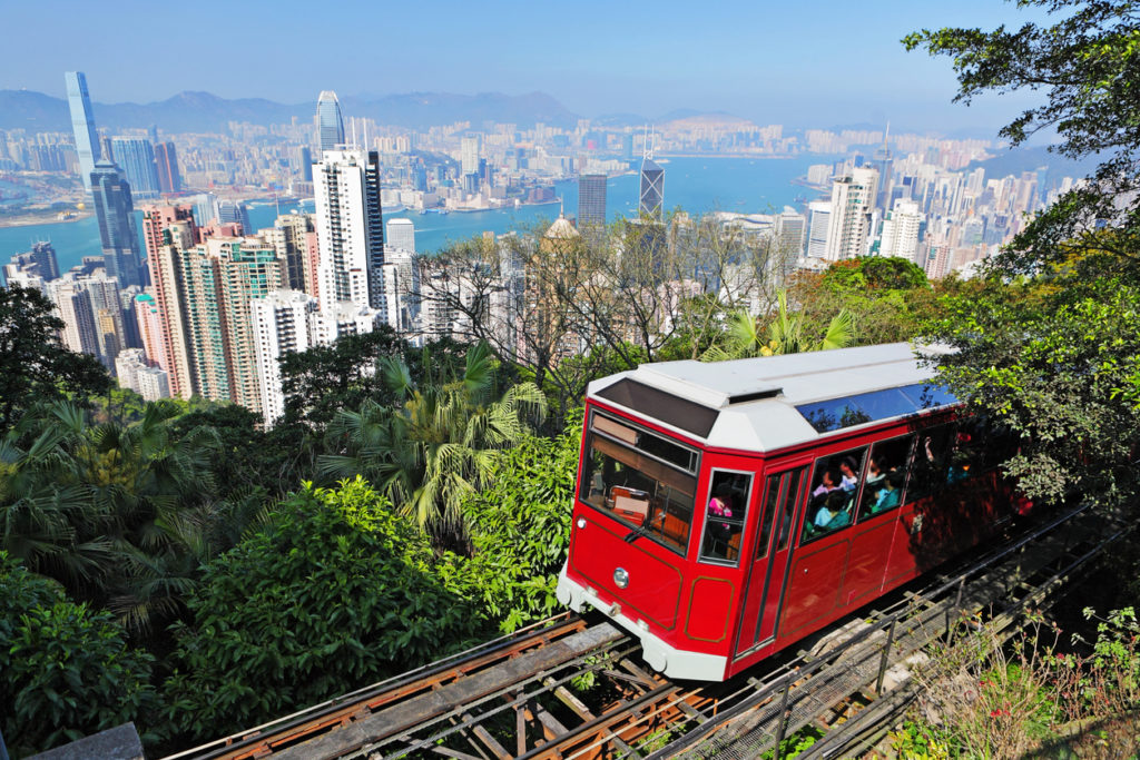 Tourist tram at the Peak in Hong Kong