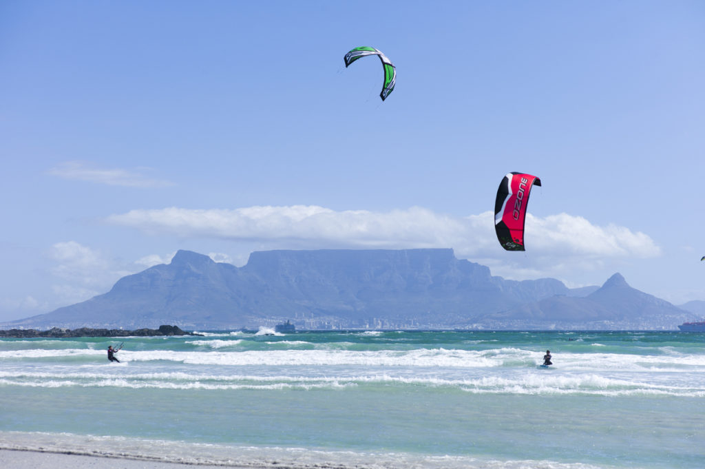 Kite Surfing on Bloubergstrand, Cape Town, South Africa