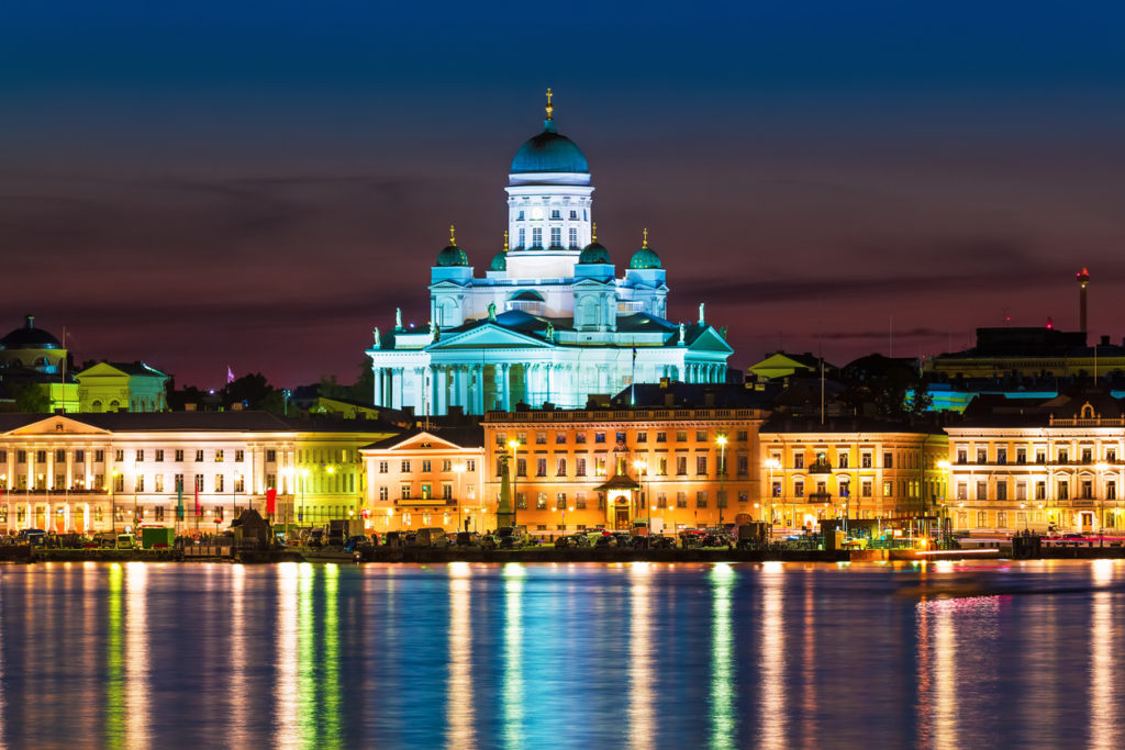 Night scenery of the Old Town in Helsinki, Finland
