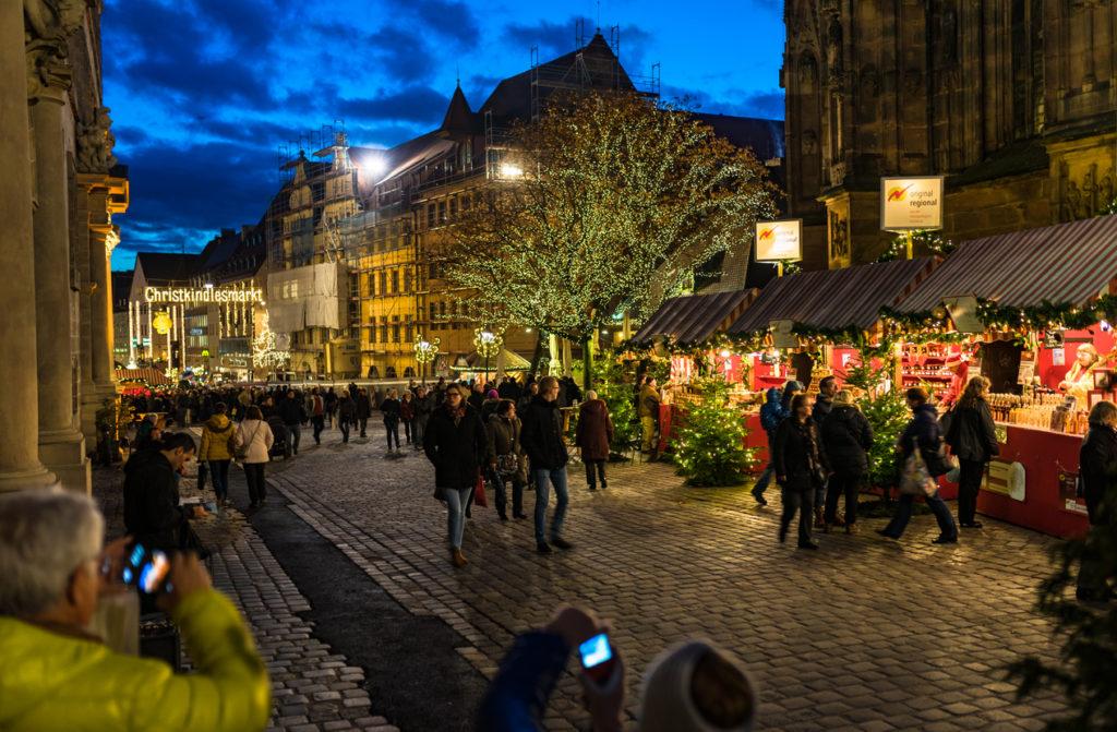 The famous Christkindlesmarkt of Nuremberg at night.