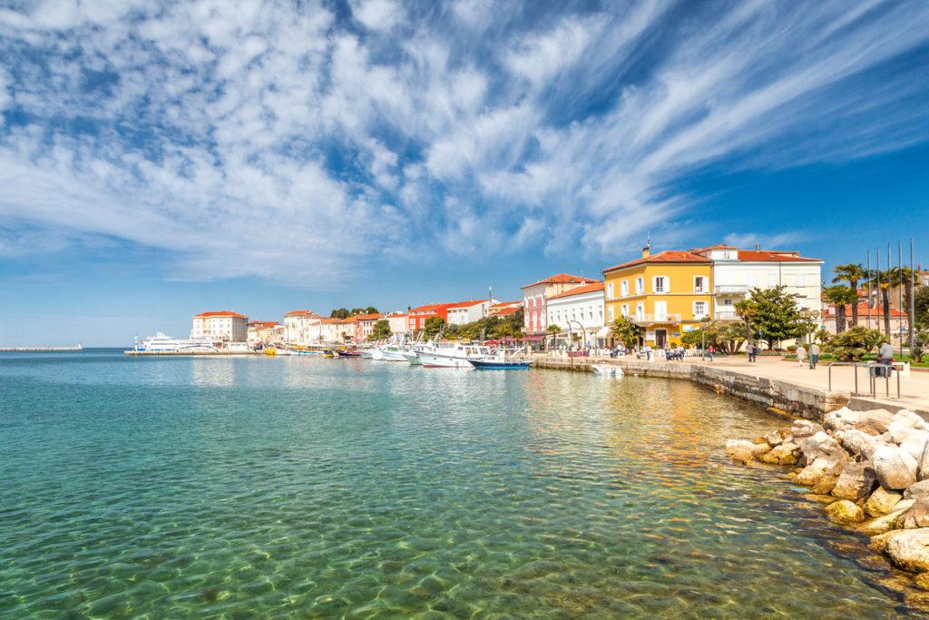 Porec town and harbour on Adriatic sea in Croatia, Europe.