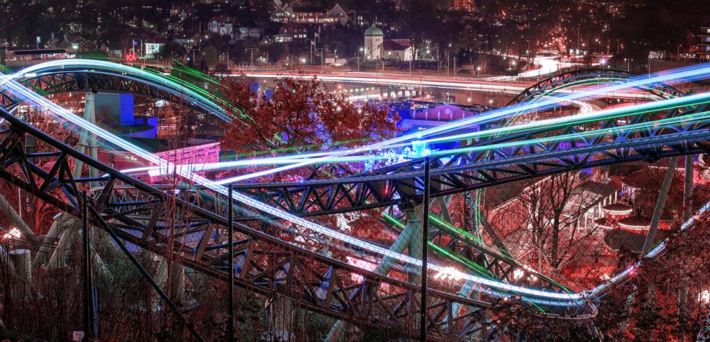 Roller coasters at the Liseberg amusement park