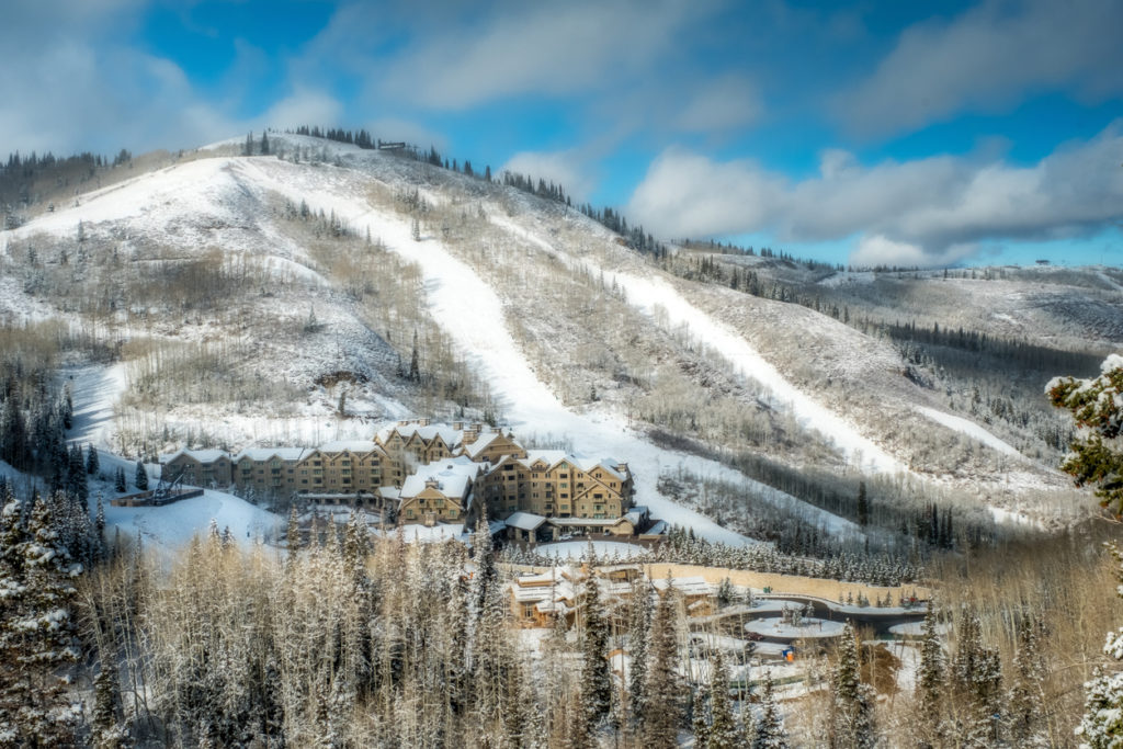 View of the snow covered Montage Hotel at Empire Pass in Deer Valley Utah