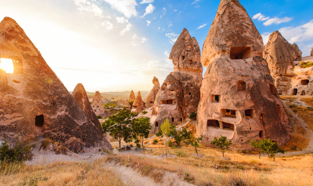 Sunset in a picturesque Cappadocian valley, Nevsehir region, Turkey
