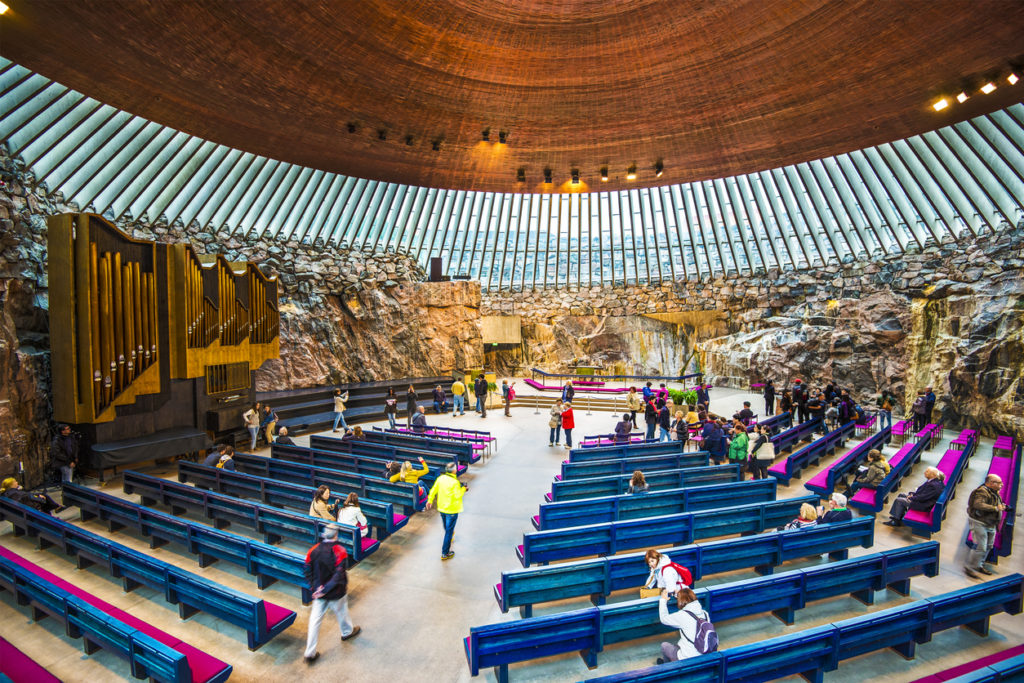 Interior of Temppeliaukio Church. The interior was excavated and built directly out of solid rock.